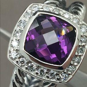 David Yurman 925 Amethyst Albion Diamonds Ring Sz7